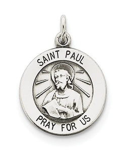 Sterling Silver Antiqued Saint Paul Medal Pendant (20X15MM)