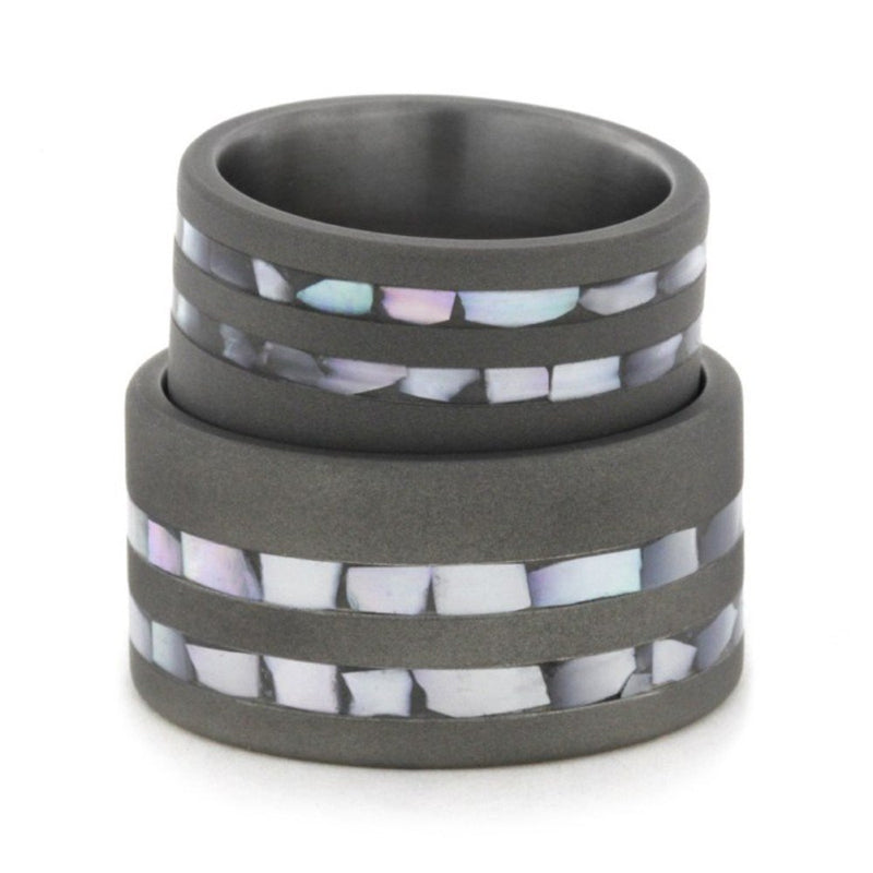 Mother of Pearl Inlay, Sandblasted Comfort-Fit Titanium His and Hers Wedding Band Set, M10.5-F9.5