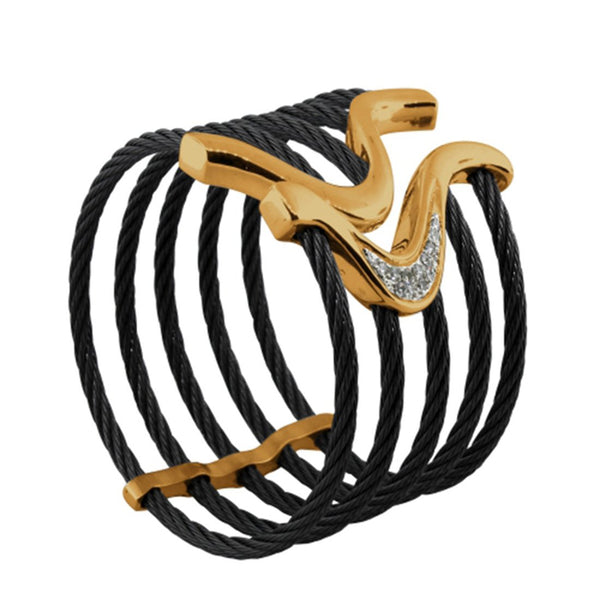 Tango Collection Black Titanium and Bronze Cable 44mm White Sapphire Flexible Cuff Bracelet, 6""