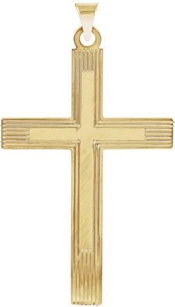 Cross with Embossed Cross Inside the Cross 14k Yellow Gold Pendant