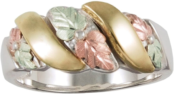 Past, Present Future 8mm Grape Leaf Band, Sterling Silver, 10K Yellow Gold, 12k Green and Rose Gold Black Hills Gold Motif