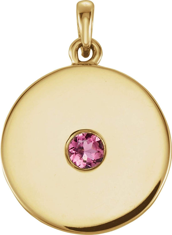 Round Pink Tourmaline Disc Pendant, 14k Yellow Gold