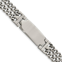Men's Polished Stainless Steel Adjustable ID Link Bracelet, 7.75""