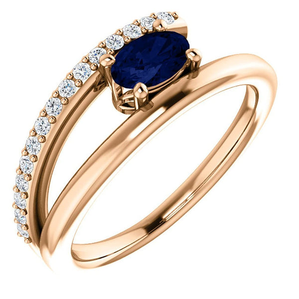 Blue Sapphire and Diamond Bypass Ring, 14k Rose Gold (.125 Ctw, G-H Color, I1 Clarity), Size 6.25