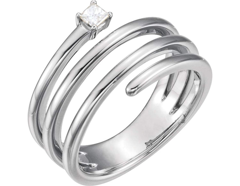 Diamond Spiral Wrap Ring, Sterling Silver (.1 Ctw, GH Color, I1 Clarity) Size 6