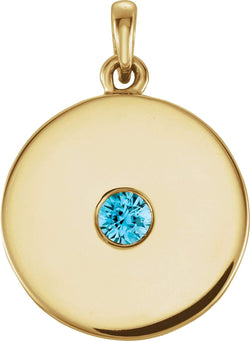 Round Blue Zircon Disc Pendant, 14k Yellow Gold
