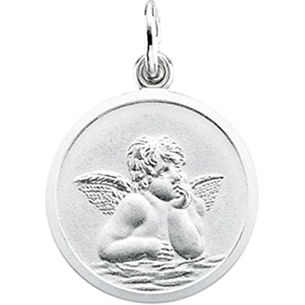 14k White Gold Angel Medal (18 MM)