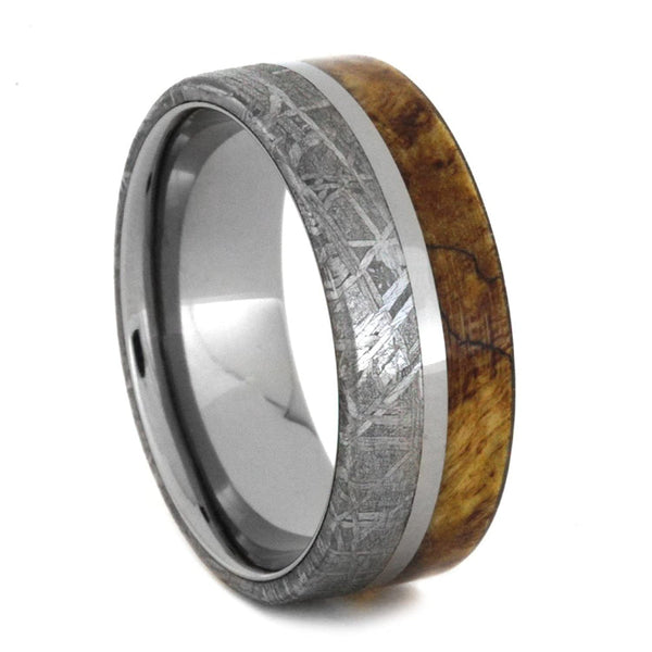 Spalted Maple Burl, Gibeon Meteorite 8mm Comfort-Fit Titanium Ring, Size 8