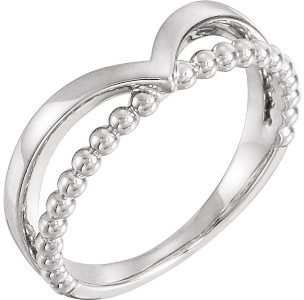 Platinum Negative Space Beaded 'V' Ring