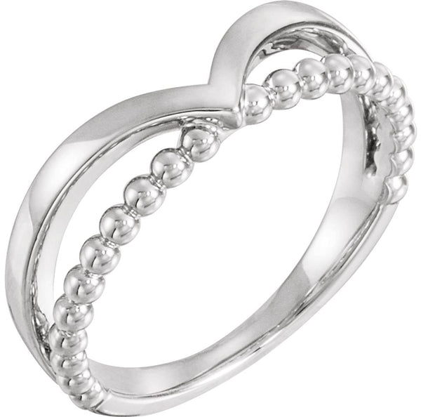 Negative Space Beaded 'V' Ring, Rhodium-Plated 14k White Gold