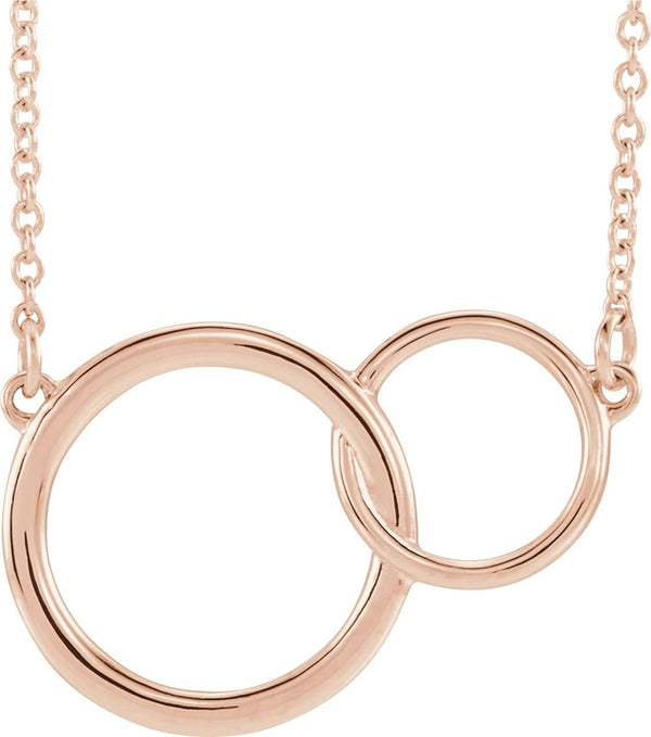 Interlocking Circle Necklace, 14k Rose Gold, 18""