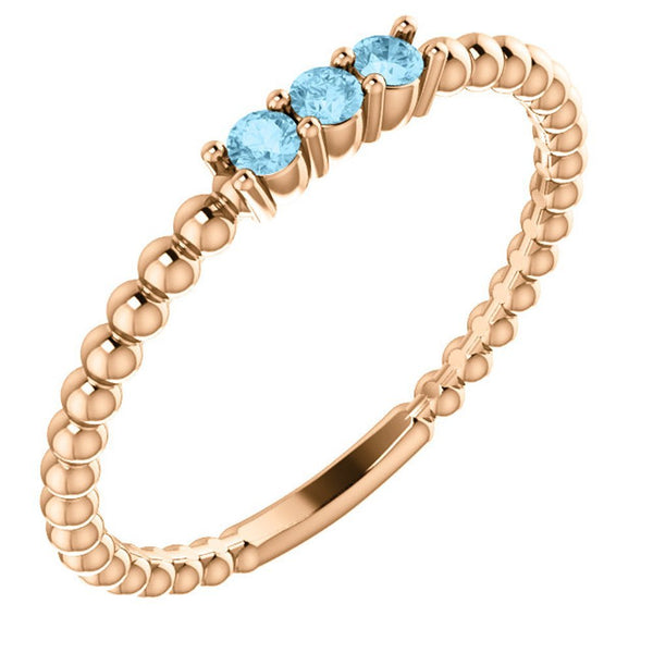 Aquamarine Beaded Ring, 14k Rose Gold, Size 7