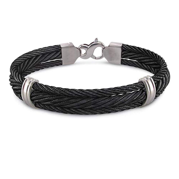 "Men's Signature Cable Collection Gray Titanium Three Row Cable Bracelet, 8.5"" (11MM)"
