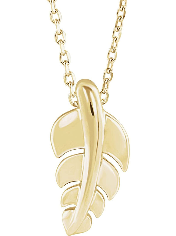Journey Leaf Necklace,14k Yellow Gold, 18""