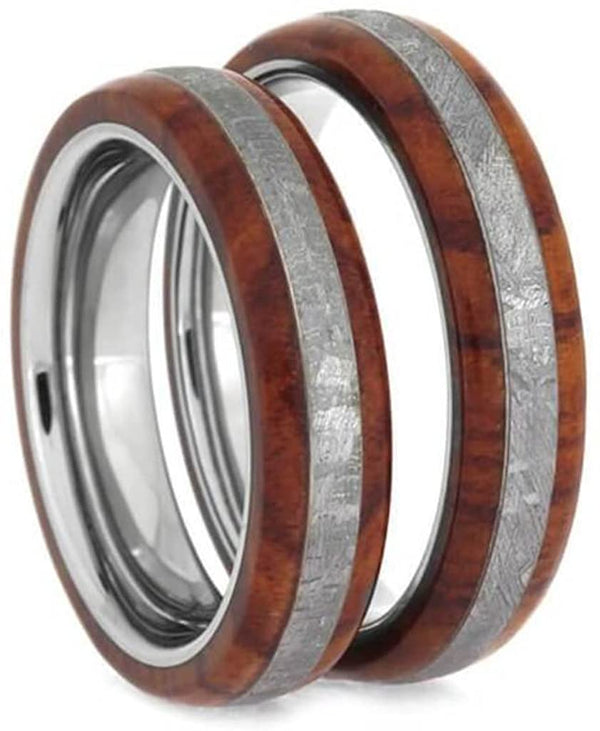 Tulipwood, Gibeon Meteorite 5mm Comfort-Fit Titanium Couples Wedding Bands Sizes M12-F6
