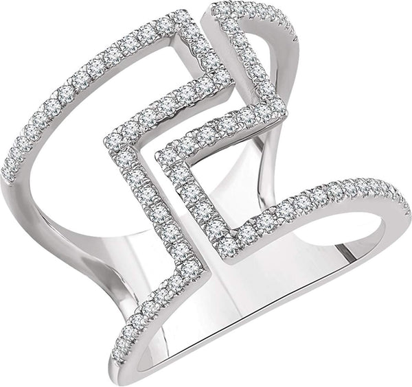 Diamond Negative Space Ring, 14k White Gold, (1/2 Ctw, Color H+, Clarity I1), Size 7