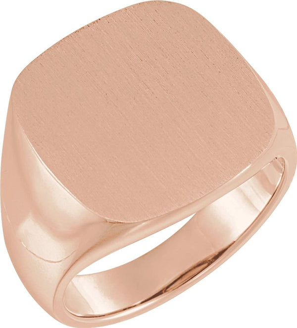 Men's Open Back Brushed Square Signet Ring, 18k Rose Gold (18mm)