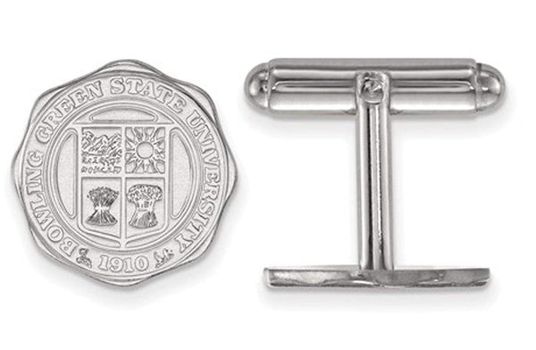 Rhodium-Plated Sterling Silver, Bowling Green, State University Crest Cuff Links, 15MM