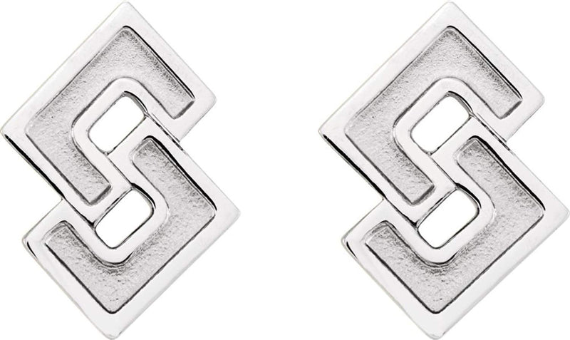 Inlaid Geometric Link Post Earrings, Rhodium-Plated 14k White Gold