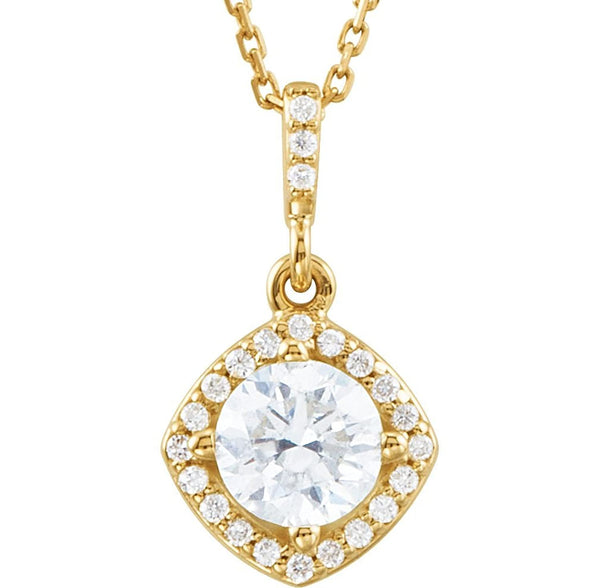 "Diamond Halo Necklace, 14k Yellow Gold, 18"" (.875 Ctw, Color G-H, Clarity I1)"