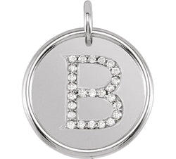 "Diamond Initial ""B"" Pendant, Rhodium-Plated 14k White Gold (0.125 Ctw, Color GH, Clarity I1)"