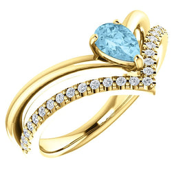 Aquamarine Pear and Diamond Chevron 14k Yellow Gold Ring (.145 Ctw, G-H Color, I1 Clarity)