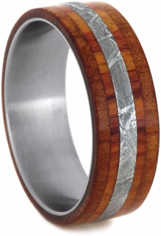 Gibeon Meteorite, Cedar Wood, Tulip Wood 8mm Comfort-Fit Brushed Titanium Wedding Band, Size 14