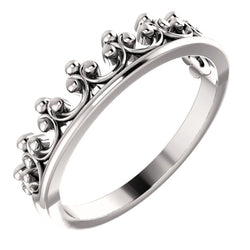 Stackable Crown Ring, Rhodium-Plated 14k White Gold, Size 8.25