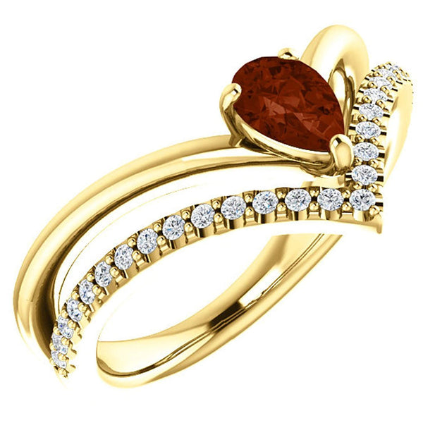 Mozambique Garnet Pear and Diamond Chevron 14k Yellow Gold Ring (.145 Ctw,G-H Color, I1 Clarity)