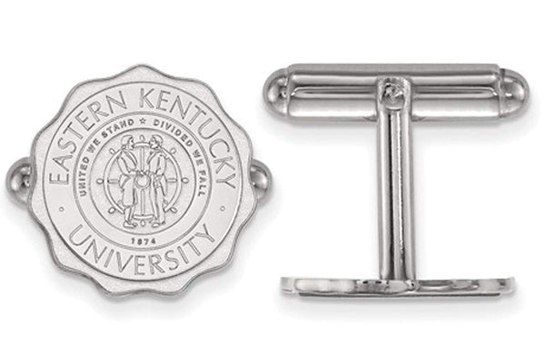 Rhodium-Plated Sterling Silver, Eastern Kentucky University Crest Cuff Links, 15MM