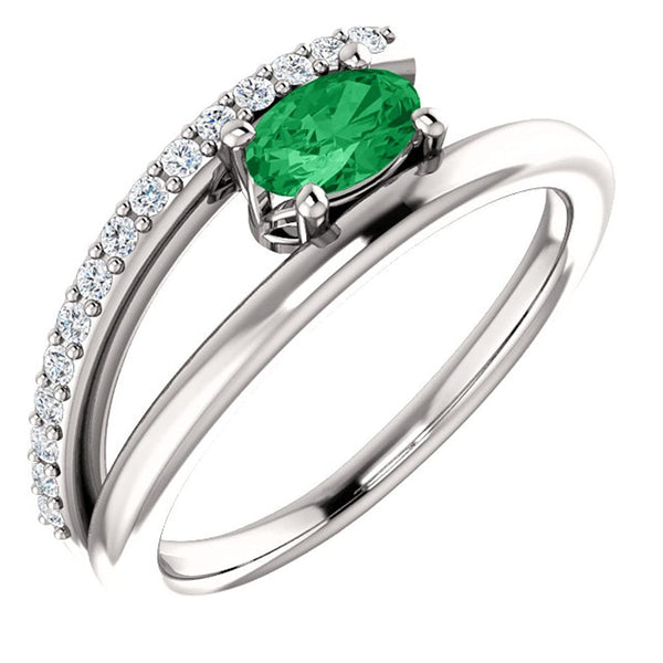 Chatham Created Emerald and Diamond Bypass Ring, Sterling Silver (.125 Ctw, G-H Color, I1 Clarity), Size 7.25