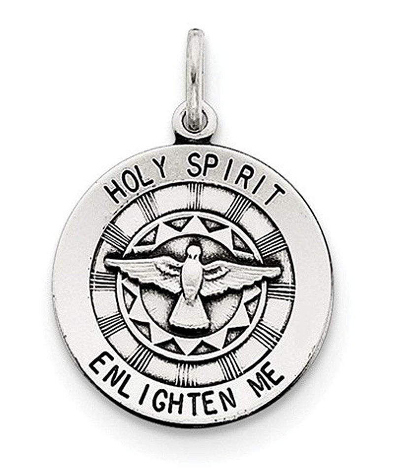 Sterling Silver Antiqued Holy Spirit Dove Medal (20X19MM)