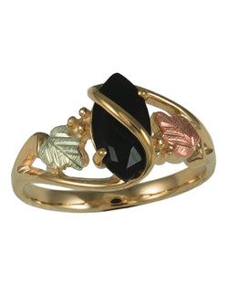 Onyx Marquise Ring, 10k Yellow Gold, 12k Green and Rose Gold Black Hills Gold Motif