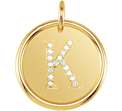 "Diamond Initial ""K"" Pendant, 14k Yellow Gold (.08 Ctw, Color G-H, Clarity I1 )"