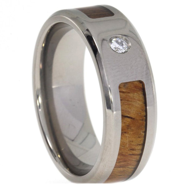 Cubic Zirconia, Hawaiian Koa Wood 8mm Comfort Fit Titanium Band, Size 12