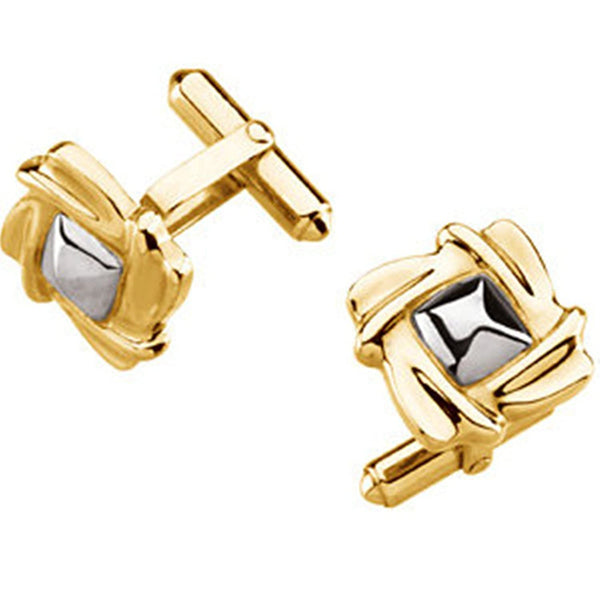 14k Yellow and White Gold Square Cuff Links, 16.5MM