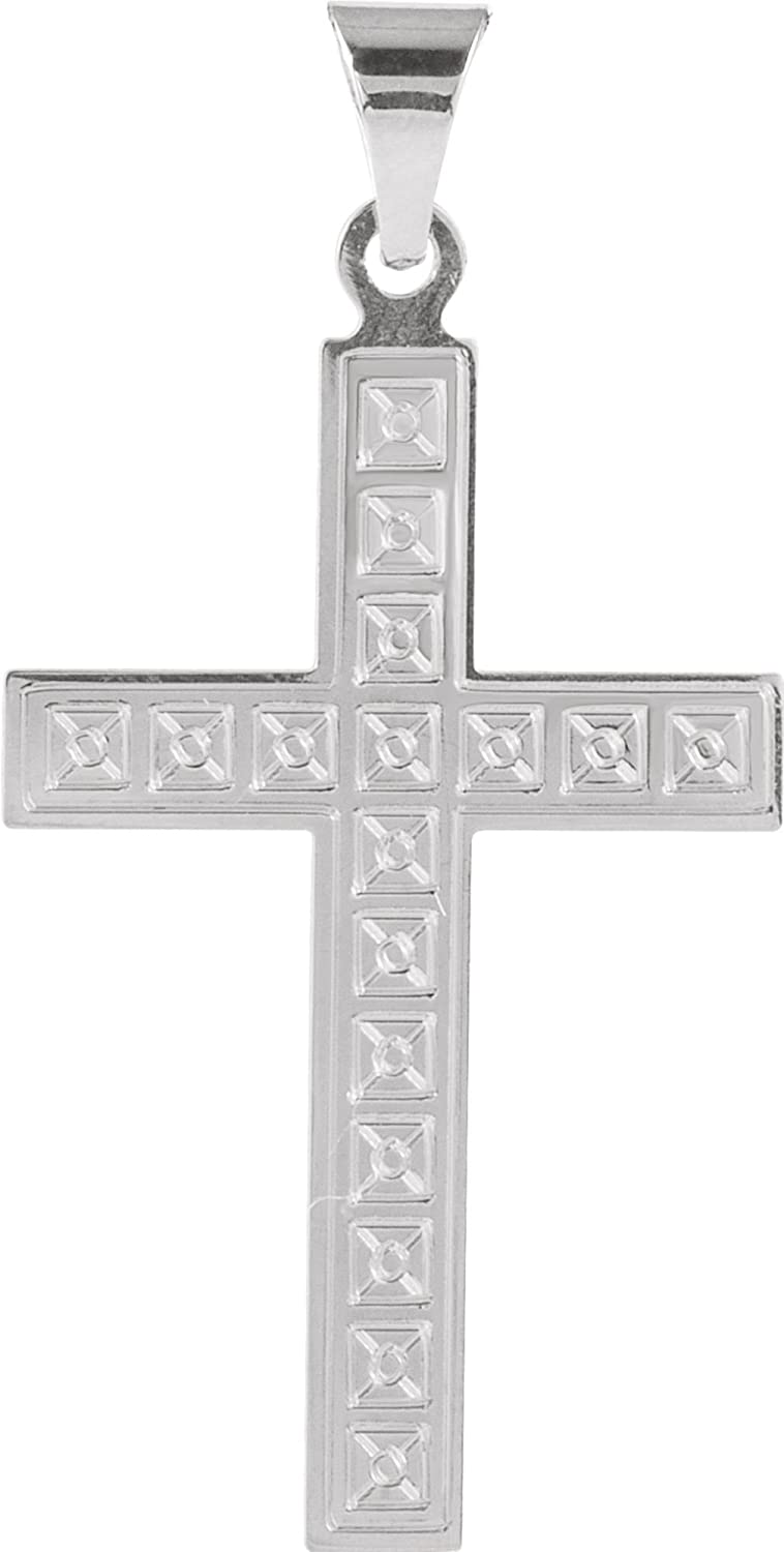 Square Christian Cross with Engraved Florian Pattern 14k White Gold Pendant