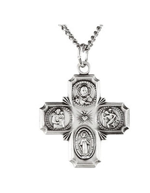 "Sterling Silver Four-Way Cross Medal Necklace, 24"" (25x24 MM)"