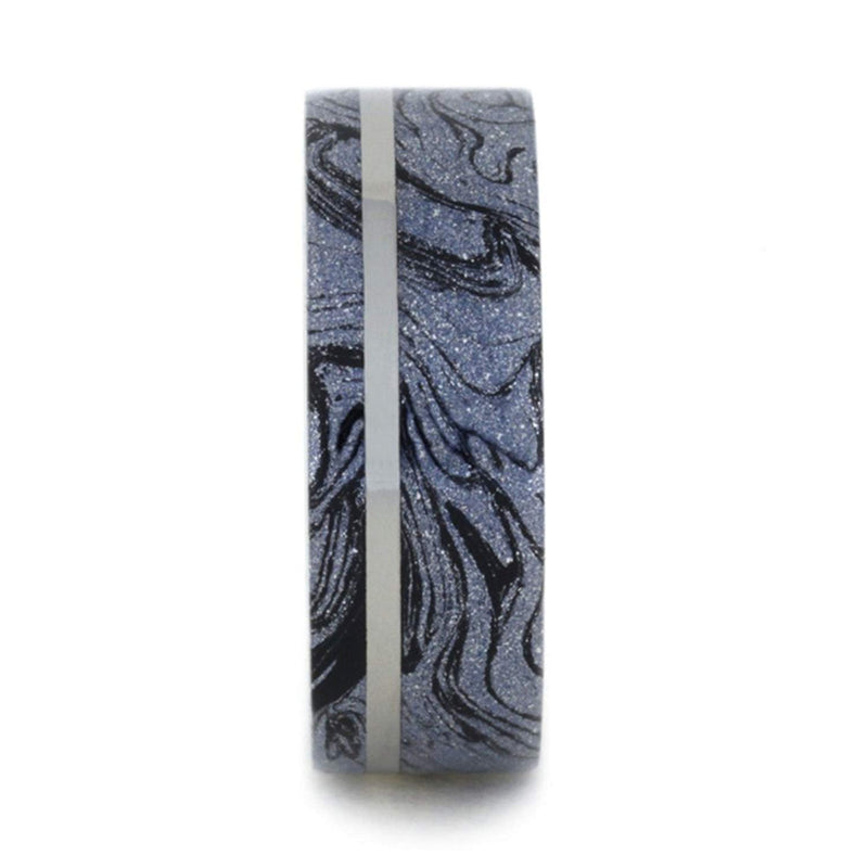 Black and Blue Cobaltium Mokume Gane 8mm Comfort-Fit Titanium Band