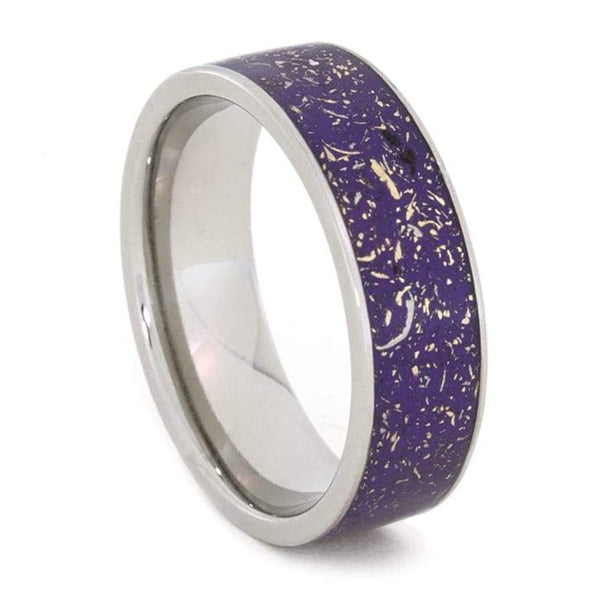 The Men's Jewelry Store (Unisex Jewelry) Purple Stardust with Meteorite and 14k Yellow Gold 7mm Comfort-Fit Titanium Ring