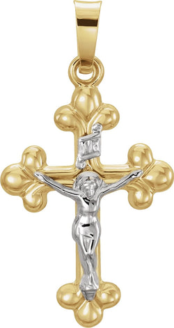 Small Two-Tone Budded Crucifix INRI Pendant, 14k Yellow and White Gold (19X14MM)