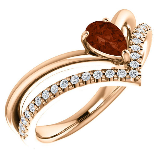 Mozambique Garnet Pear and Diamond Chevron 14k Rose Gold Ring (.145 Ctw,G-H Color, I1 Clarity)