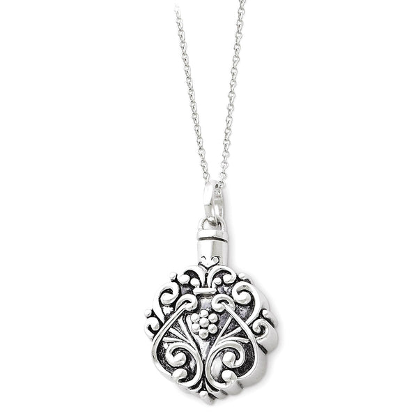 Antiqued Circle Remembrance Ash Holder Rhodium Plate Sterling Silver Pendant Necklace, 18""