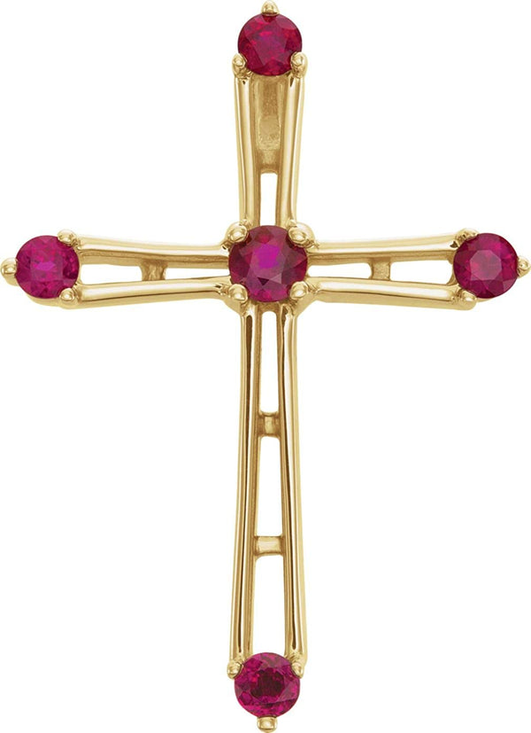 Ruby Cross 14k Yellow Gold Pendant (26.00X22.00 MM)