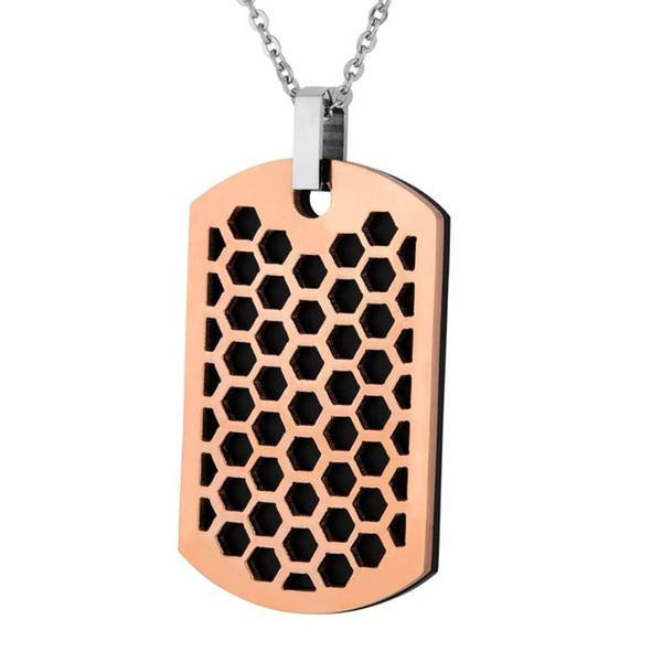 Men's Rose and Black Ion Plated, Two-Piece Honeycomb Dog Tag Pendant Necklace, Stainless Steel, 24""
