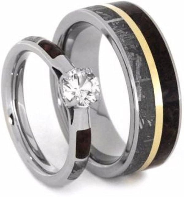 His and Hers Wedding Set, White Sapphire 10k White Gold Ring, Dinosaur Bone and Gibeon Meteorite Titanium Wedding Bands, M9.5-F8.5