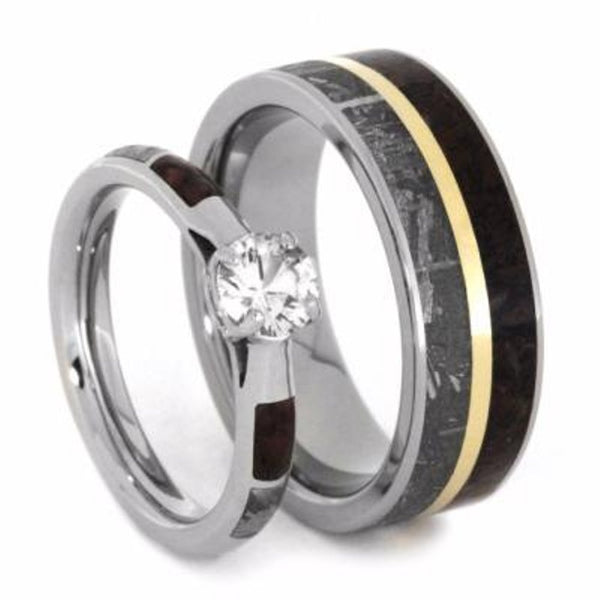 The Men's Jewelry Store (Unisex Jewelry) His and Hers Wedding Set, White Sapphire 10k White Gold Ring, Dinosaur Bone and Gibeon Meteorite Titanium Wedding Bands