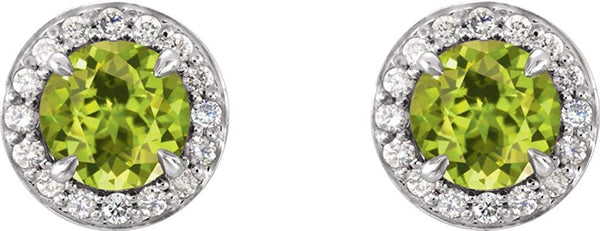 Peridot and Diamond Halo-Style Earrings, Rhodium-Plated 14k White Gold (5 MM) (.16 Ctw, G-H Color, I1 Clarity)
