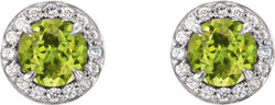 Peridot and Diamond Halo-Style Earrings, 14k White Gold (3.5MM) (.125 Ctw, G-H Color, I1 Clarity)