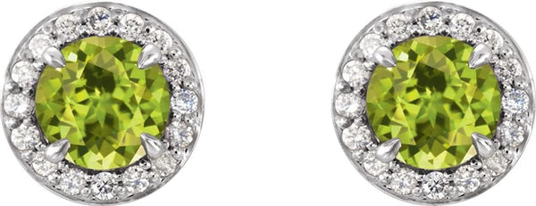 Peridot and Diamond Halo-Style Earrings, 14k White Gold (4MM) (.125 Ctw, G-H Color, I1 Clarity)